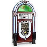 Auna Graceland TT Jukebox vintage (reproductor de discos vinilo, USB, SD, bluetooth, CD, MP3, AUX, radio FM, fonógrafo)