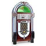 auna Graceland TT Jukebox Retro Musikbox (Bluetooth, Phono, Plattenspieler, MP3 fähiger CD-Player, USB-Anschluss, SD-Port, Aufnahmefunktion, AUX-Eingang, UKW Radio-Tuner) braun