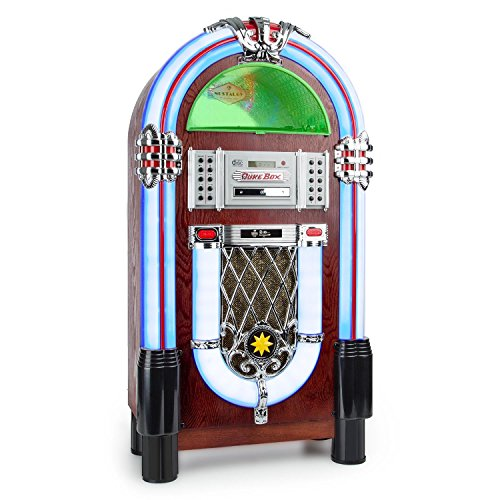 AUNA Graceland TT - Jukebox, Retro Musikbox, Bluetooth, Plattenspieler, MP3-fähiger CD-Player, USB-Port, SD-Karten Slot, Aufnahmefunktion, AUX-Eingang, UKW Radio, LED-Beleuchtung, braun -