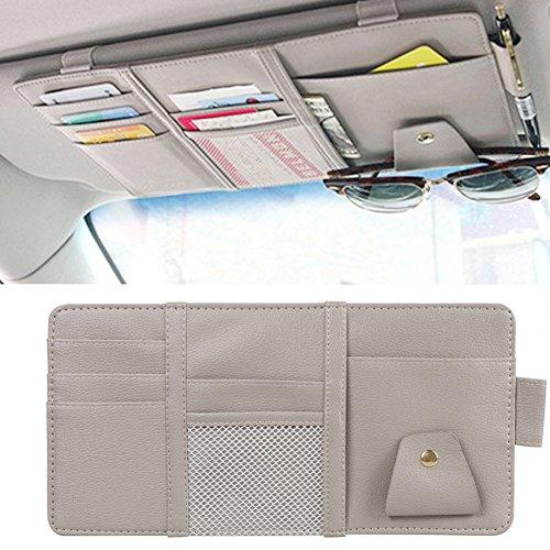 MRCARTOOL Auto-Sonnenblende-Organisator, Auto-Innentaschen-Sonnenbrille-Stift-Halter-Parken-Kraftstoff-Karten-Änderungs-Speicher 30x14cm (Gray)
