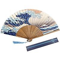 Da.Wa Abanico Plegable de Seda Artesanías de Decoración Ventilador de Bambú con Olas de Impresión