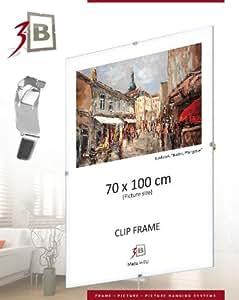 Sous Verre photo sans cadre avec clips 60x80 cm