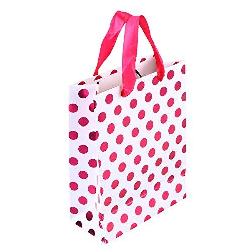 Amosfun 10 stücke Geschenk Papiertüten mit Tupfen Muster Band Griff Geschenk Taschen Einkaufstaschen Süßigkeitstaschen für Kinder Geburtstag Hochzeit Party Supplies Gefälligkeiten