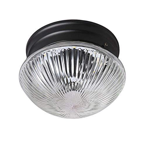 Rétro LED Lampe de Plafond Rond Loft Industriel Plafonniers Vintage Verre Abat Jour Plafonnier Lampe Éclairage au plafond Fer Métal Plafonnier de