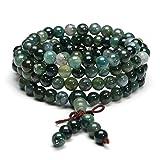 Jovivi 6mm/8mm-108 Perles en Moss Agate Naturelle Collier/Bracelet Chaîne Chapelet...