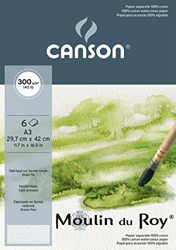 Canson Bellas Artes 400056423 bolsa de papel de acuarela Moulin du Roy 300g 6 hojas A3 Bellas Grano Natural Blanco