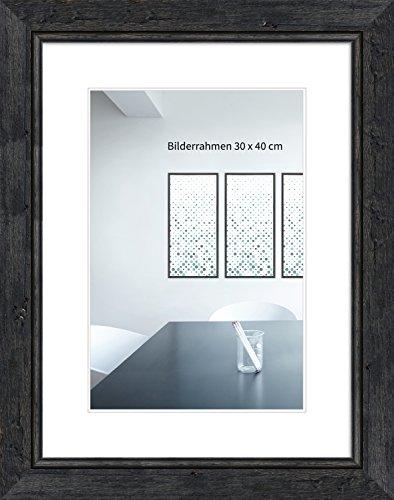 WANDStyle Bilderrahmen H660 in Schwemmholz-Optik aus Massivholz mit Normalglas Farbe: Schwarz Größe: 29,7 x 42 (A3) cm