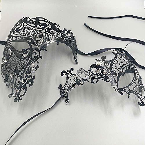 Zorux Masken-Set für Männer und Frauen, Halber Totenkopf, venezianisch, Metall, Party, Paar, Maskenball, Masken-Set