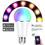 WiFi Smart Glühbirne Dimmbare Multicolor LED Lampe, Fernbedienung von Kostenlose APP, Sprachsteuerung von Amazon Alexa Google Home, Kein Hub erforderlich