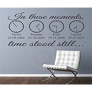 In These Moments Time Stood Still A Moment in Time Changed Forever Names Dates Times Wall Decal Sticker Art Home Decor Family Wall Art