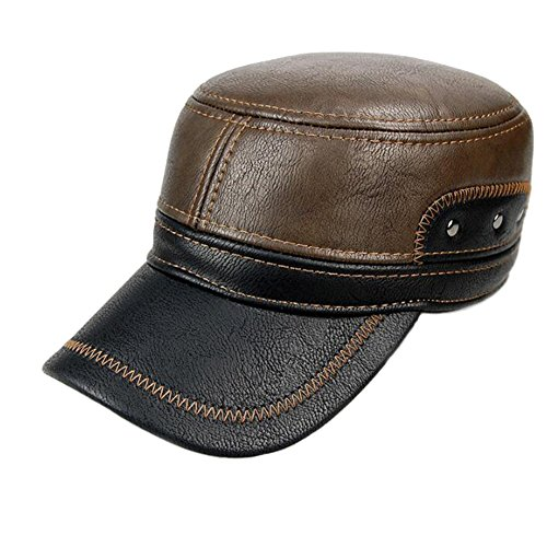 Winter Cap flach verstellbar Baseball Cap Outdoor warme Mütze mit mit Ohrenklappen kurz Plüsch Nachahmung Leder für Herren Polar Fleece Brown and Black (Fitted Cap Brown)