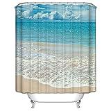 Sea Beach Badezimmer Duschvorhang, Anti-Schimmel 100% Polyester Badewanne Duschvorhänge, 3D Effekt und Digitaldruck, Wasserdicht mit 12 weißen Haken, 180 x 180cm