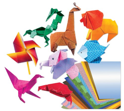 RoseArt Origami Fun Folding Paper Kit, Includes 32-Piece of Assorted Color Paper, Packaging May Vary