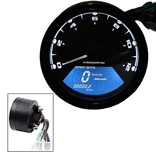 TurnRaise Universal 12000 RPM LCD Digital Velocímetro Cuentakilómetros Tacómetro para Motocicleta Moto 1-4 Cilindros