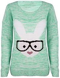 (womens rabbit glasses knitted jumper)(mtc) femmes lapin lunettes tricoté chandail