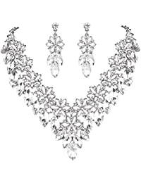 Clearine Women's Wedding Bridal Crystal Multi Hibiscus Flower Statement Necklace Dangle Earrings Set abWjK