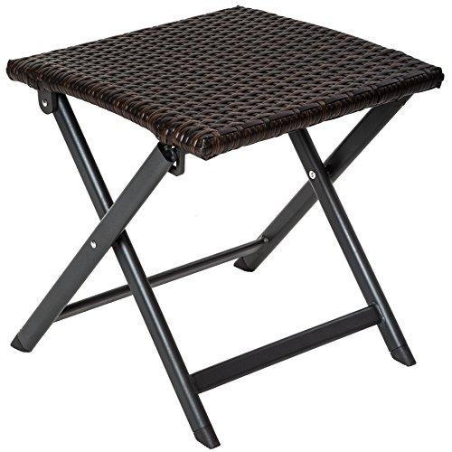 TecTake Sgabello pieghevole in alluminio e polyrattan tavolino | (lungh. x largh. x alt.): 41 (Sedia Da Giardino Ottomano)