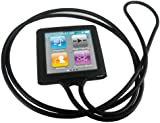 iGadgitz Black Silicone Skin Case Cover Necklace for Apple iPod Nano 6th Generation 8gb, 16gb + Screen Protector