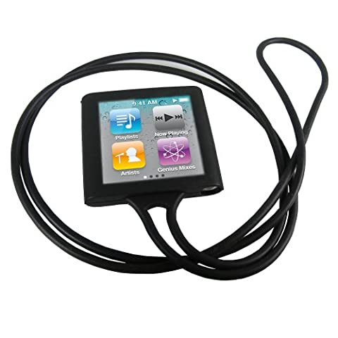 igadgitz Housse Etui Pochette Coque Case en Silicone de couleur Noir avec Collier pour Apple iPod Nano 6G 6ème Gen Génération 8 go gb & 16 go gb + protecteur