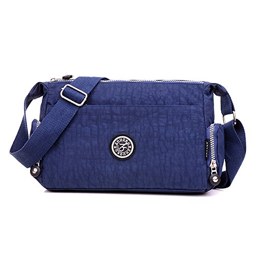 SUNRAY-BUY Three Pocket Zipper Purse Waterproof Nylon Wristlet Crossbody Messenger Bag Cell Phone Pouch with Shoulder Strap (Navy)