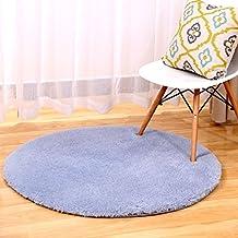 Qwer Lana de cordero terciopelo alfombra circular alfombra yoga fitness dormitorio salón sofá , alfombra redonda , Plata 160 cm diámetro alfombras
