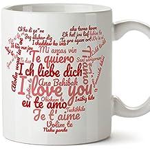 Tazas desayuno originales para enamorados, regalos de pareja, novios, San Valentín - Te quiero / I love You / múltiples idiomas - Tazas de cerámica con frases y mensajes alegres y divertidos para regalar a la pareja