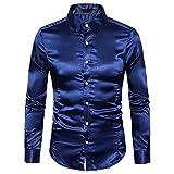 Lenfesh Herren Freizeit Bluse Langarm Metallic Schlanke Stretch Shirt Hemden (Marineblau, S)