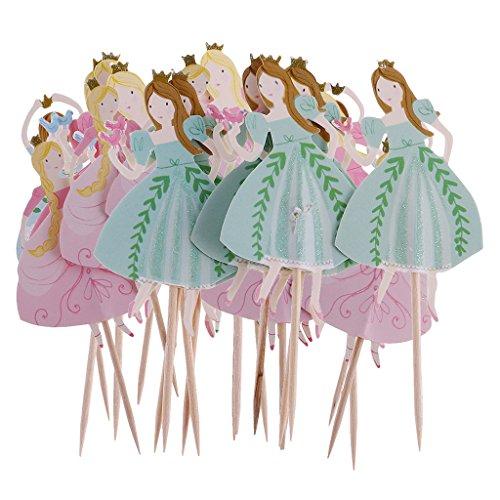 Homyl 24pcs Holz Cupcake Topper Set - Tanzen-Prinzessin