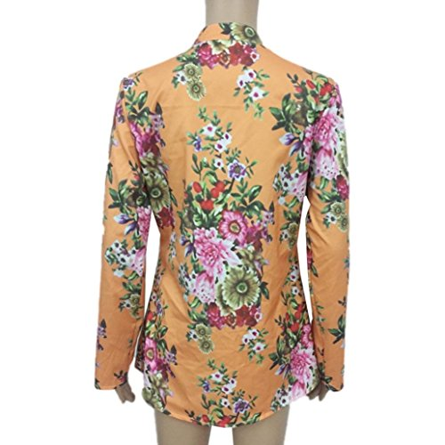 Esailq Femmes Vintage Floral Imprimé V-Cou Plus Size Tops Shirt Tunic Blouse Jaune