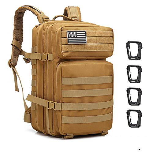 Sergo Wasserdichter taktischer Rucksack 45L 600D Nylon mit mehreren Kapazitäten, mehrere Taschen für Wandercamping, Bergsteigen, Jagen, Radfahren im Freien und mehr (Khaki)