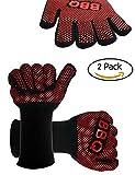 ZOSEN BBQ Handschuhe - Premium Qualität hitzebeständig Kochen Ofenhandschuhe (rot & schwarz) (rot & schwarz)