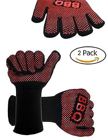 ZOSEN BBQ Handschuhe - Premium Qualität hitzebeständig Kochen Ofenhandschuhe (rot
