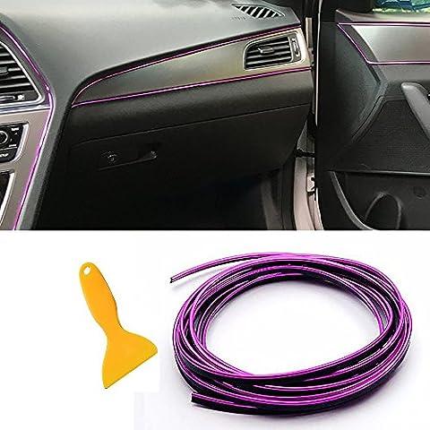 TOPONE Auto Deko Set 16,4 Fuß Universal Auto Innen Zierleiste Streifen mit exklusiven Installation Werkzeug Flexible Trim Line DIY Gap garnieren Zubehör für alle Cars, Packung mit 2