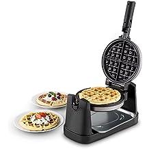 oneConcept Wafflemaster piastra per waffle macchina girevole (1000 Watt, 17cm Ø, piastra antiaderente, lavabile, vassoio acciaio inox, manopola distribuzione impasto uniforme) - nero