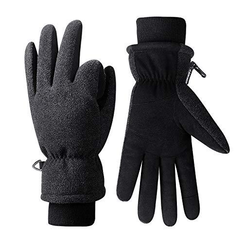 coskefy Winterhandschuhe Herren Damen Touchscreen Fahrradhandschuhe Gefüttert Kälteschutz mit 3M Thinsulate Insulation Skihandschuhe Schnee Thermisch Outdoor Sport Handschuhe(Schwarz-3,XL)