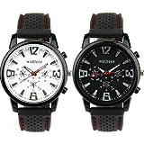 2x Herren Silikon Armband Uhr Militär Sportuhr Herrenuhr Weiß/Schwarz