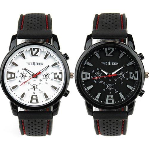 2x Herren Silikon Armband Uhr Militär Sportuhr Herrenuhr Weiß/Schwarz (Militär-zusammensetzung)
