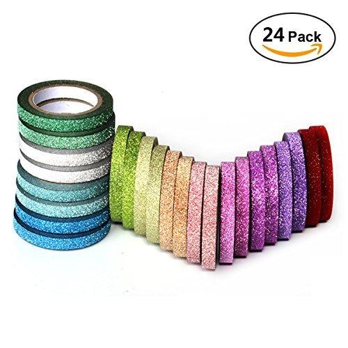 YUKUNTANG Skinny Glitzer Papier Washi Tape Set 24Rollen 12Farbe Abdeckband für DIY Handwerk Buch Designs