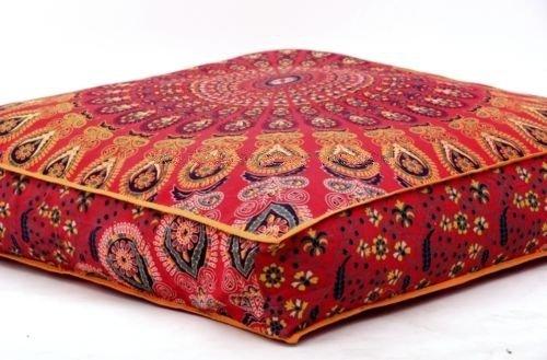 indien plumes Mandala Sol Taie d'oreiller Ottoman poufs carré Coque Jour Chien/animaux de compagnie Lit par Bhagyoday Fashions