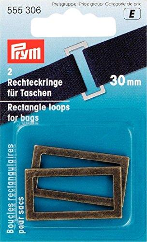 Prym 2-Teiliges Set aus 30mm Breiten rechteckigen Ösen aus Metall für Taschen und Träger