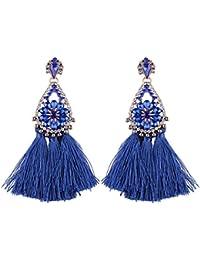 FemNmas Blue Gold Sarvoski Long Tassel Draping Extra Long Shoulder Duster Earrings For Women And Girls