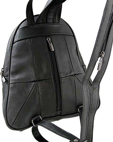 Lorenz - Damen Rucksack Leder Handtasche 3748 Schwarz