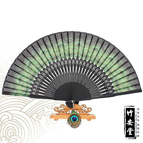 Folding Fan Seide Natur Bambus Im Chinesischen Stil Kreative Klassische Hand - Handwerk Ventilator Dekoration Tanz Frau Sommer Kühl Täglichen Ventilator Peacock Ventilator Grün