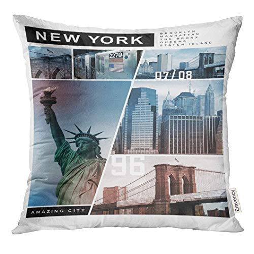 Throw Pillow Cover Brooklyn New York Tee Graphics Amazing City Print-Shirt Decorative Pillow Case Home Decor Square 18x18 Inches Pillowcase
