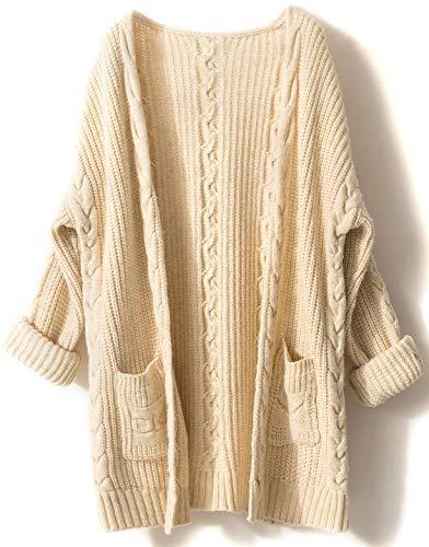 LinyXin Cashmere Damen Strickjacke Kaschmir Rundhals Langarm Lose Winterjacke Wolle Pulli Sweater Warm Pullover (S / 34-36, Beige) -