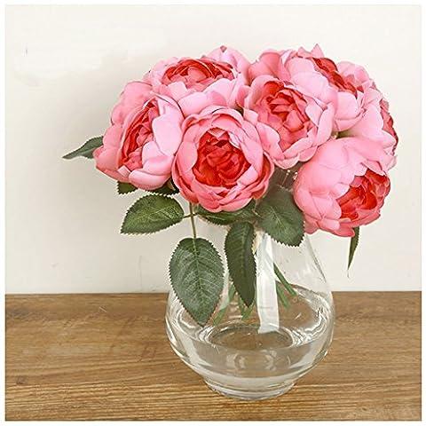 HJFF-1 bouquet de fleurs en soie artificielle pivoine faux Hortensia Accueil mariage le décor de jardin ,Rose