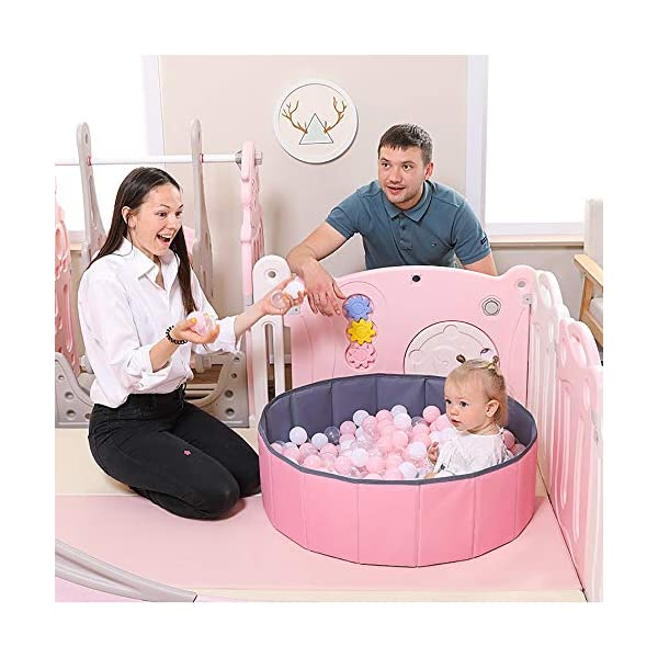 Foldable Baby Fence Plastic Baby Playpen Child Safety Fences Children's Fence Indoor Game Toy Fence Home Comfortable Playground Suitable For Babies Over 6 Months FCH123 ▶ Multi-function: It can be used as a free-standing game fence. The baby can not only play but also exercise flexibility. It is a baby's amusement park. ▶Safe and secure: the door lock is designed outside the fence to prevent the baby from opening the door of the fence. The 65cm heightening design and the fence are integrated. Don't worry about the baby being pinched, the silicone mat, the fence is more stable, and the baby is safer. ▶ Convenient and convenient: the fence is easy to install and transport, so it can be used indoors and outdoors, such as parks, beaches, meadows and other places. 8