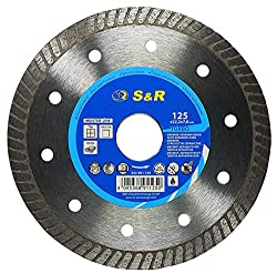 S&R Diamond Cutting Disc 125 x 1.6 (5.5) x 22.2 for cutting CERAMIC, hard ceramic, tiles, marble, granite, tiles, limestone and other hard materials. Professional quality