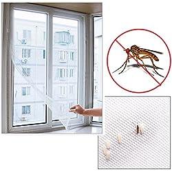 Sungpunet Malla mosquitera grande para ventana, autoadhesiva, de color blanco, para insectos, moscas, mosquitos o polillas