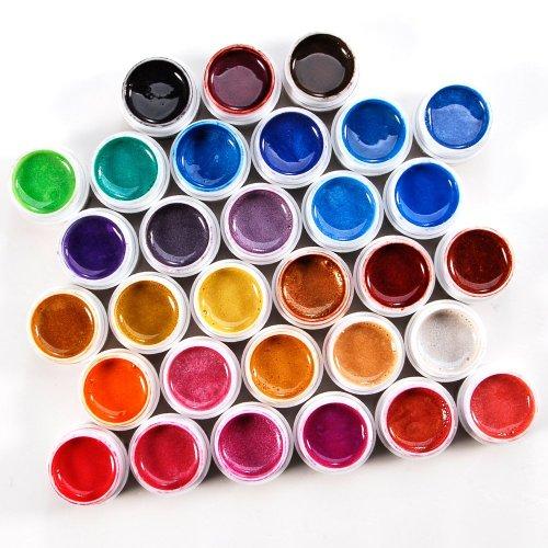 LOT 31 pot de gels uv nacre avec paillette pose ongles faux tip multi-couleurs